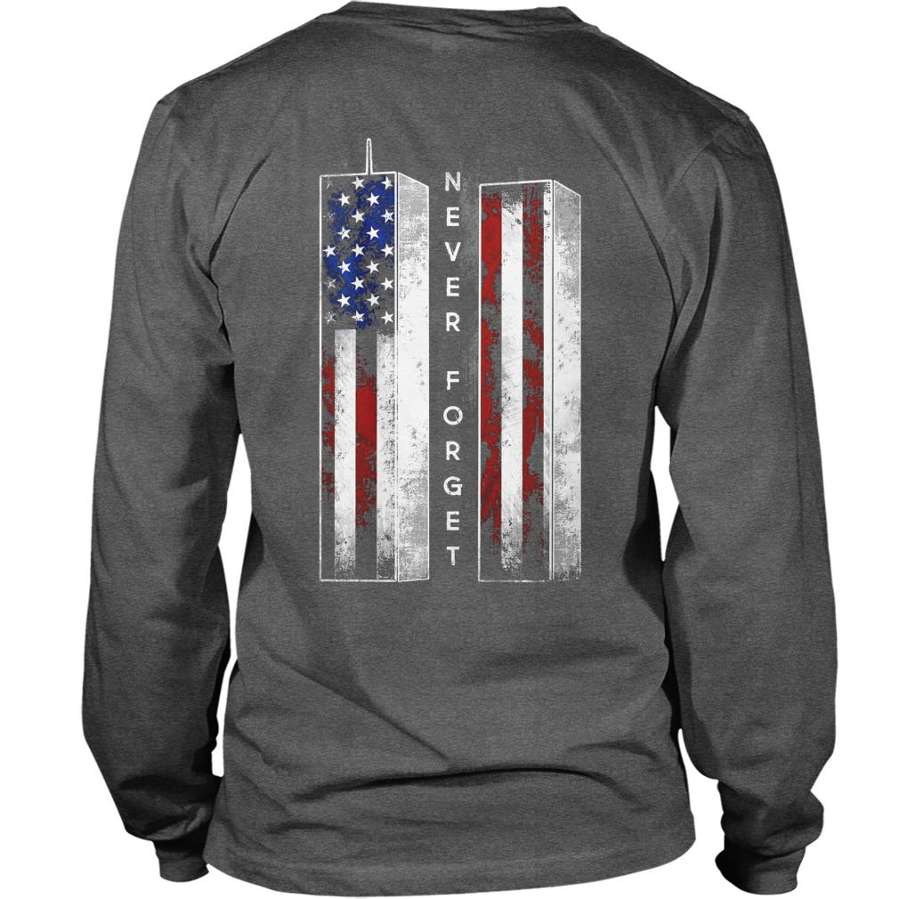 Never Forget American Flag shirt unisex longsleeve tee