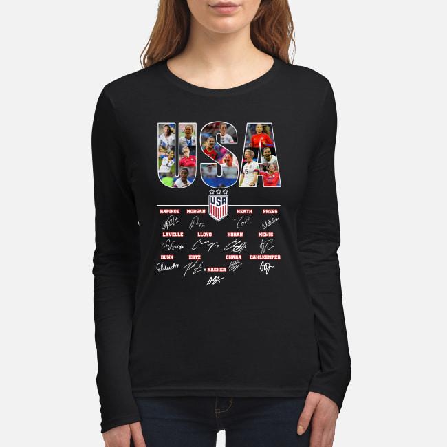 USA Women's Soccer World Cup Championship signature shirt women's long sleeved t-shirt