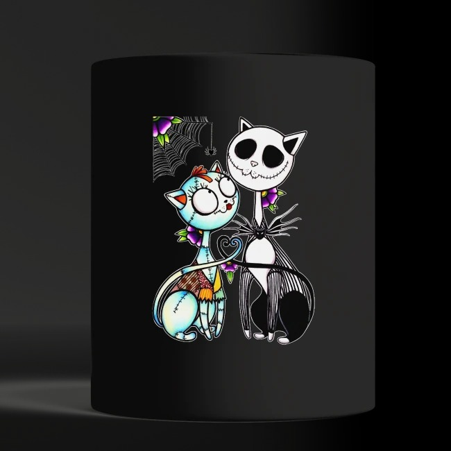 Cat Jack Skellington and Sally shirt black mug