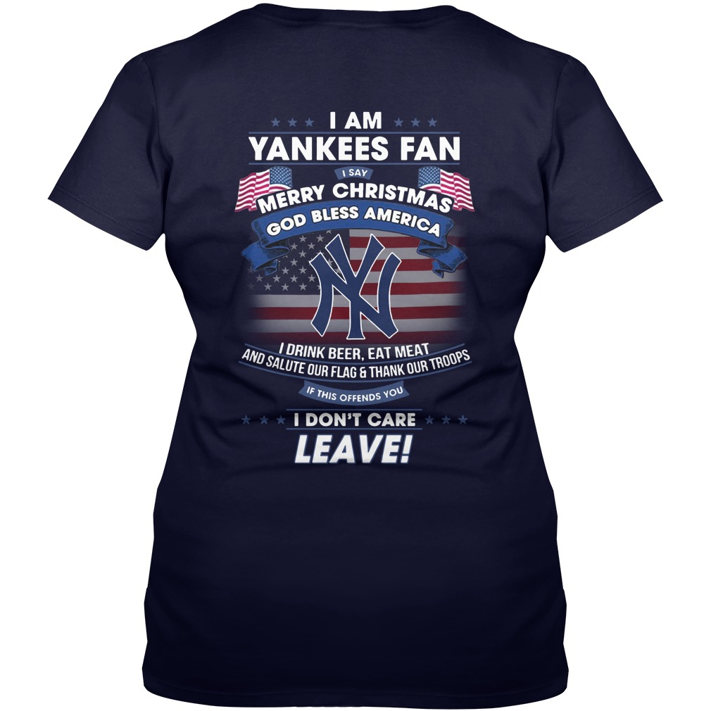 I am Yankees fan i say merry christmas God bless America i drink beer eat meet shirt lady v-neck
