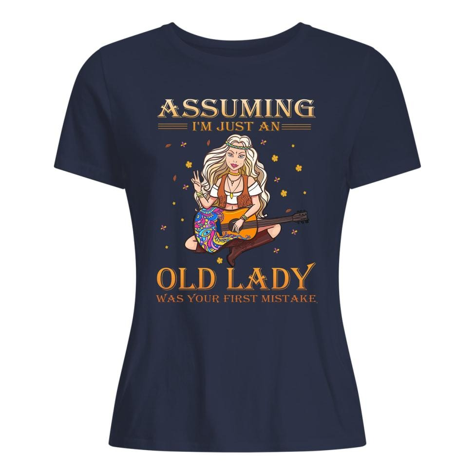 Assuming I'm just an old lady was your first mistake Hippie guitar shirt premium women's t-shirt