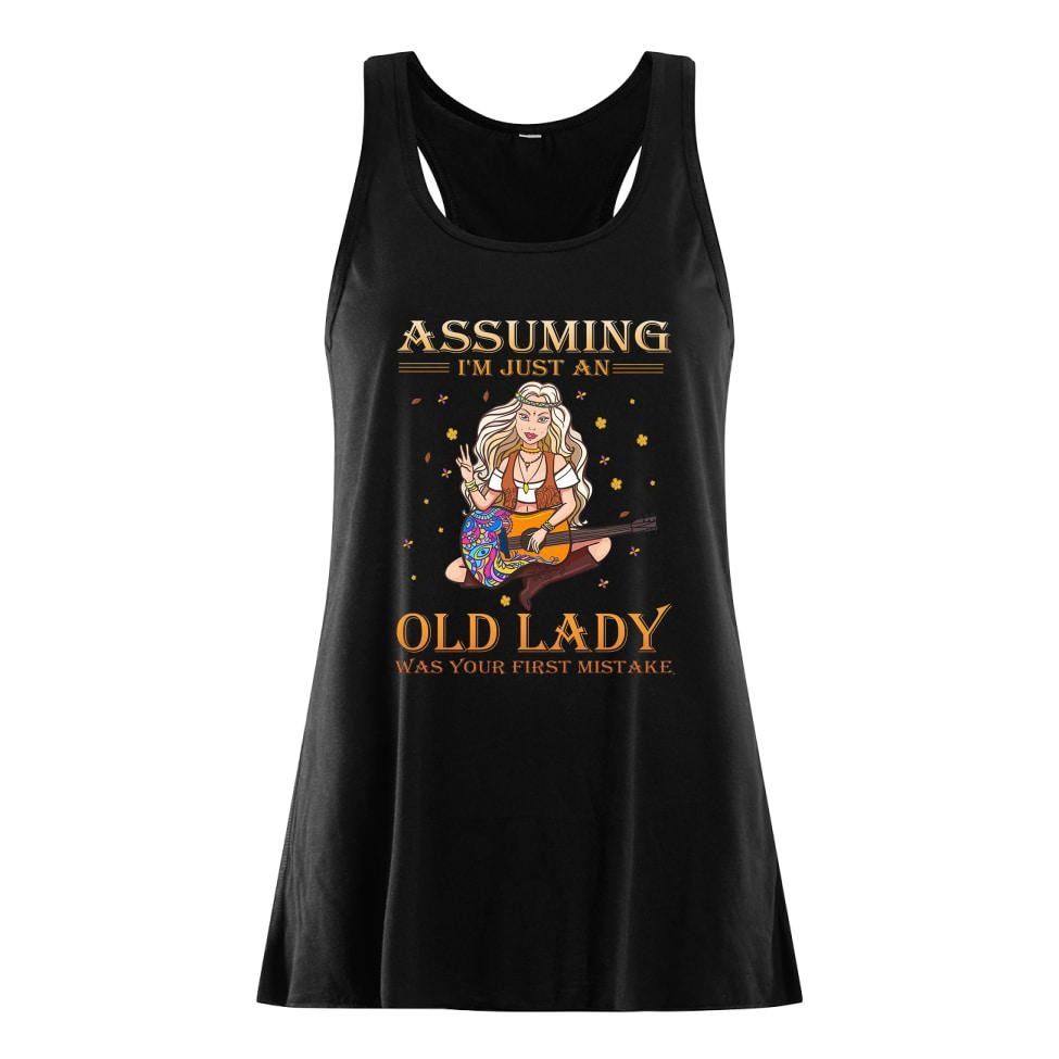Assuming I'm just an old lady was your first mistake Hippie guitar shirt women's flowy tank top
