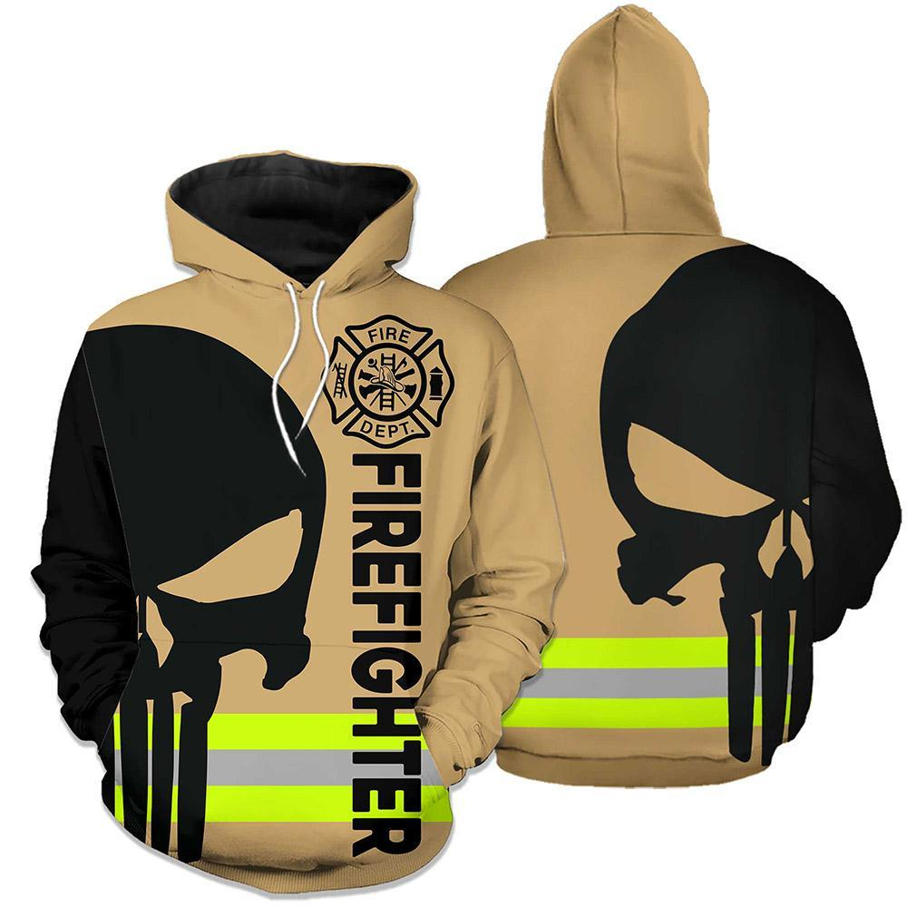 Firefighter Skull Fire Dept 3D Full Printing hoodie skull green line