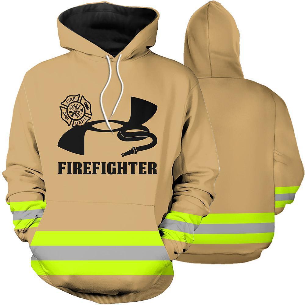 Firefighter Skull Fire Dept 3D Full Printing hoodie ua green line