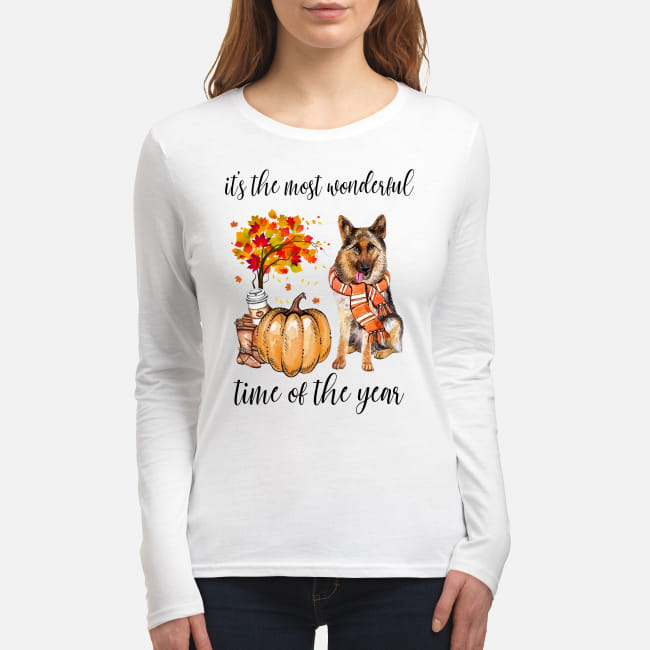 German Shepherd Autumn It's the most wonderful time of the year shirt women's long sleeved t-shirt
