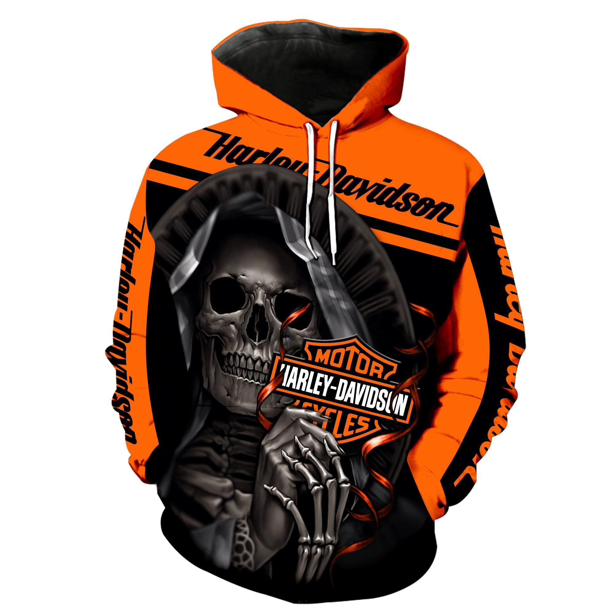 Harley-Davidson Motorcycle Skull 3D Full Over Print shirt hoodie