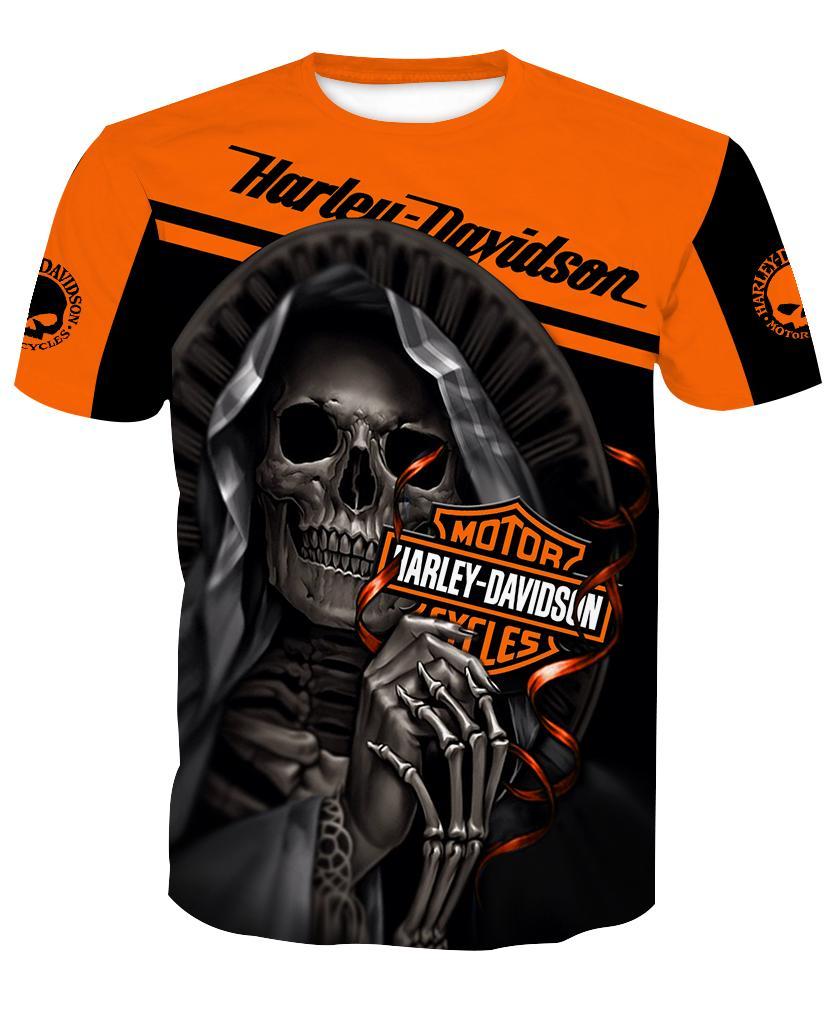 Harley-Davidson Motorcycle Skull 3D Full Over Print shirt t-shirt