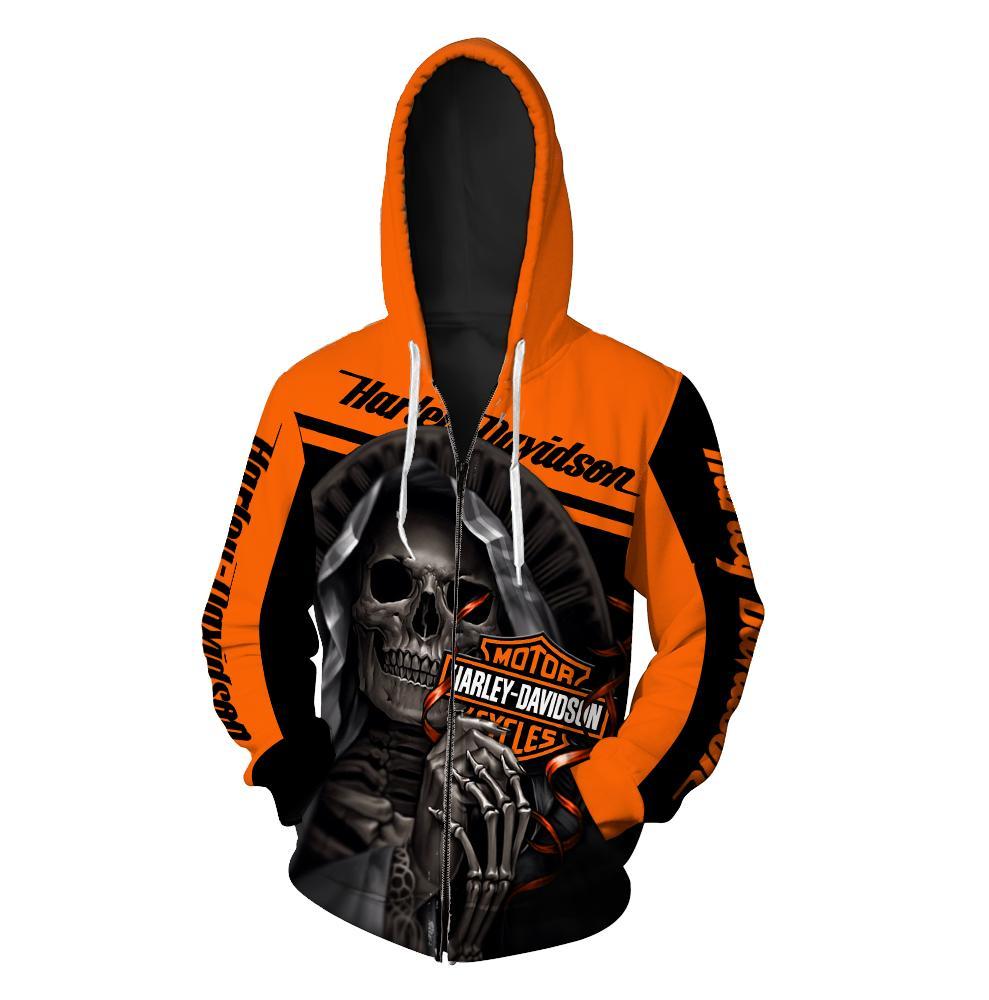 Harley-Davidson Motorcycle Skull 3D Full Over Print shirt zipper