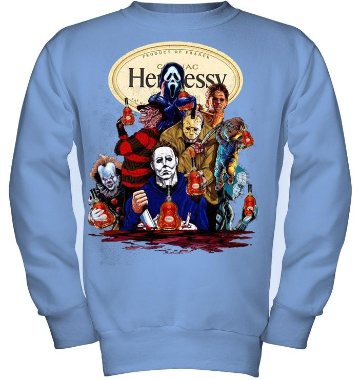 Hennessy Horror movie characters shirt kids fleece pullover sweatshirt