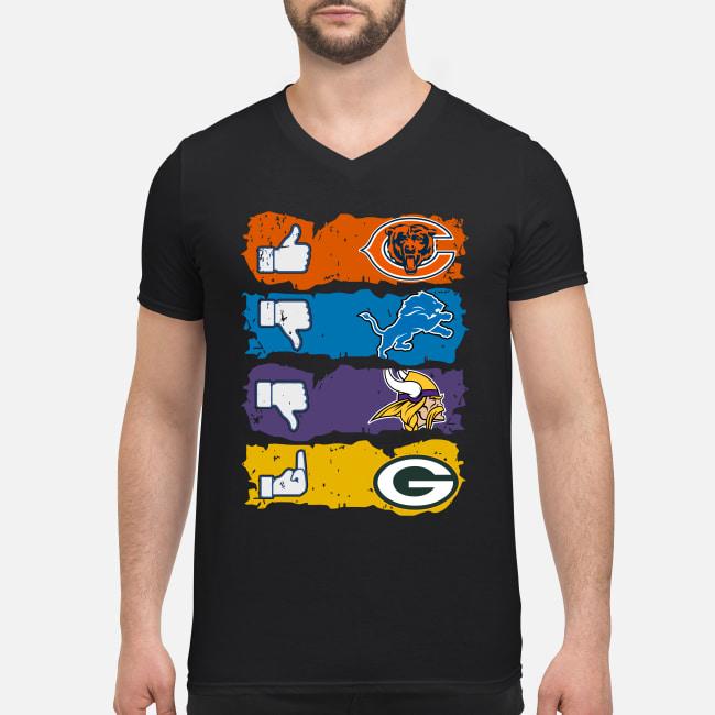 Like Chicago Bears dislikes Detroit Lions Minnesota Vikings and fuck Green Bay Packers shirt men's v-neck t-shirt