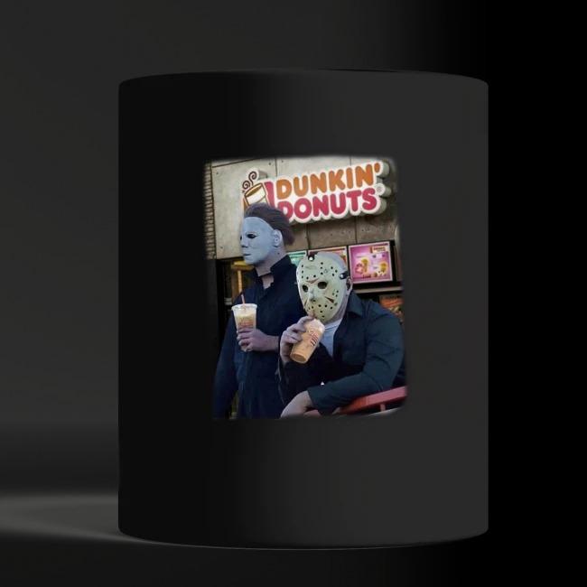 Michael Myers and Jason Voorhees drink Dunkin' Donuts shirt black mug