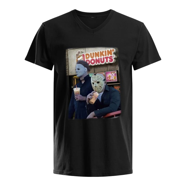 Michael Myers and Jason Voorhees drink Dunkin' Donuts shirt men's v-neck t-shirt