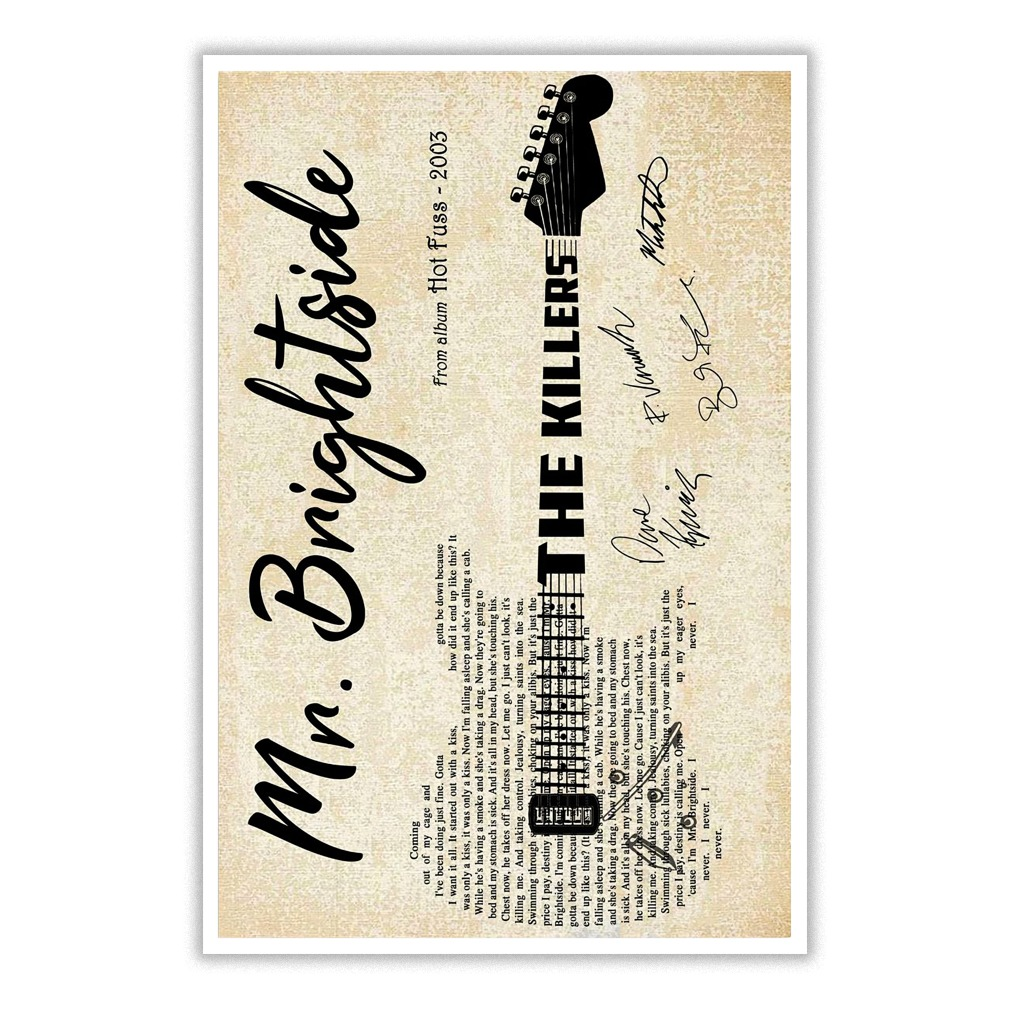 Mr Brightside Lyric guitar typography poster