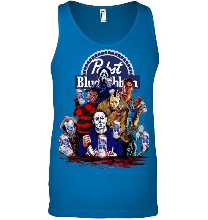 Pabst Blue Ribbon Horror movie characters shirt canvas unisex ringspun tank