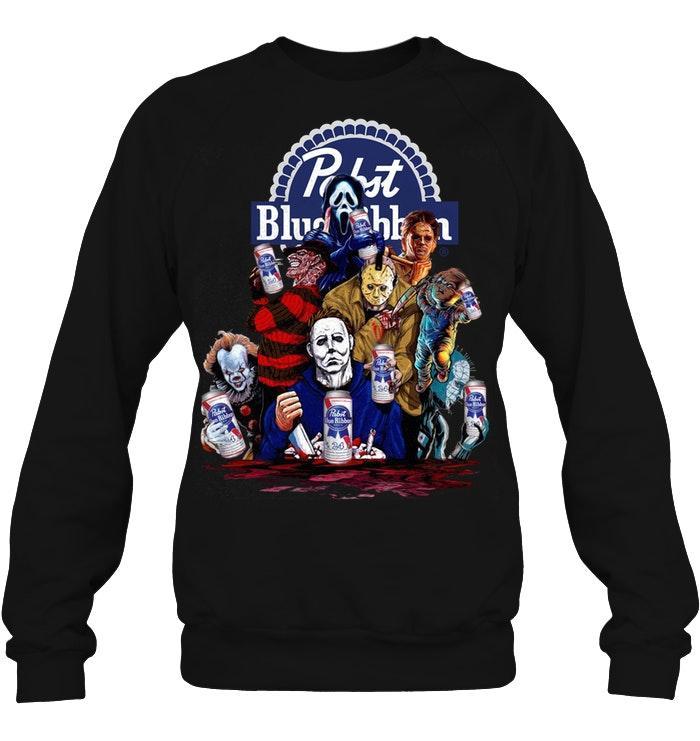 Pabst Blue Ribbon Horror movie characters shirt unisex fleece pullover sweatshirt