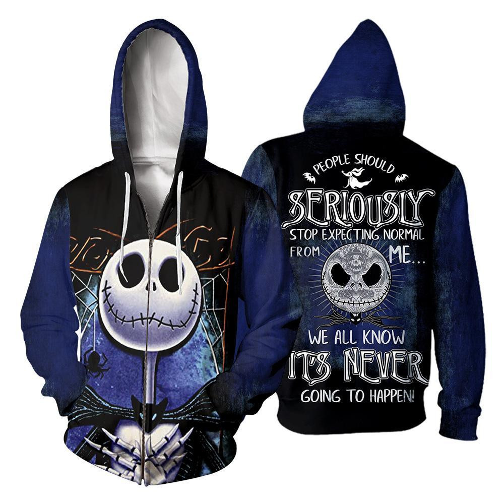 People Should Seriously, Stop Expecting Normal From Me, We All Know It's Never Going To Happen Jack Skellington 3D All Over Printed Shirt zip-hoodie