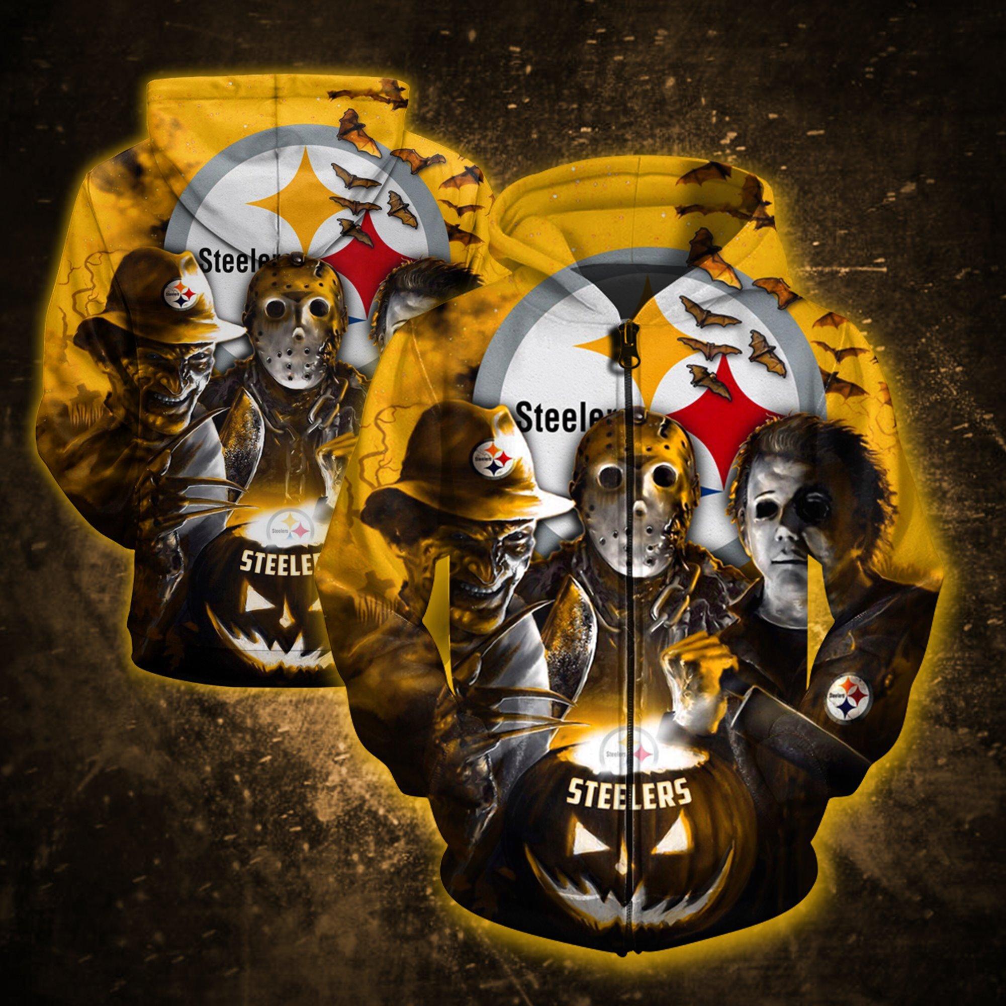 Pittsburgh Steelers Jason, Freddy and Myers Halloween 3D All Over Printed Zipper Hoodie zipper