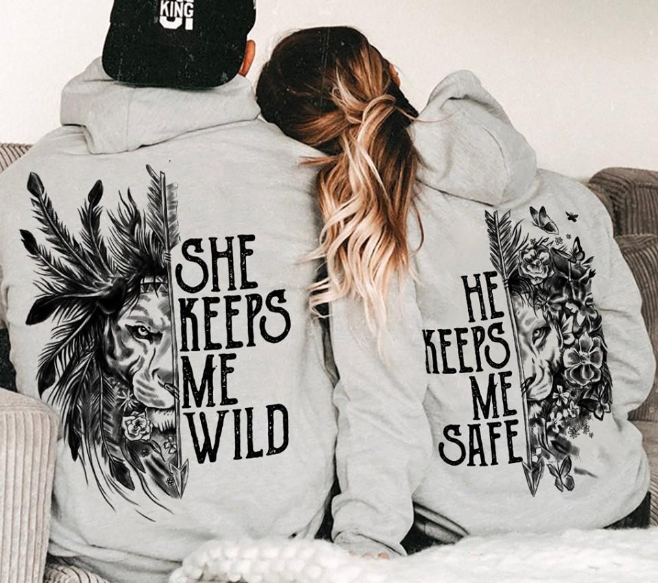 She keeps me wild he keeps me safe Lions shirt - banner