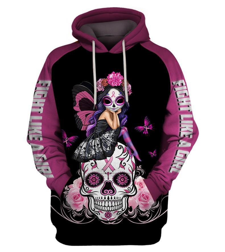 Skull Pink Warrior Fight Like a Girl Breast cancer awareness 3D All Over Printed shirt pullover hoodie