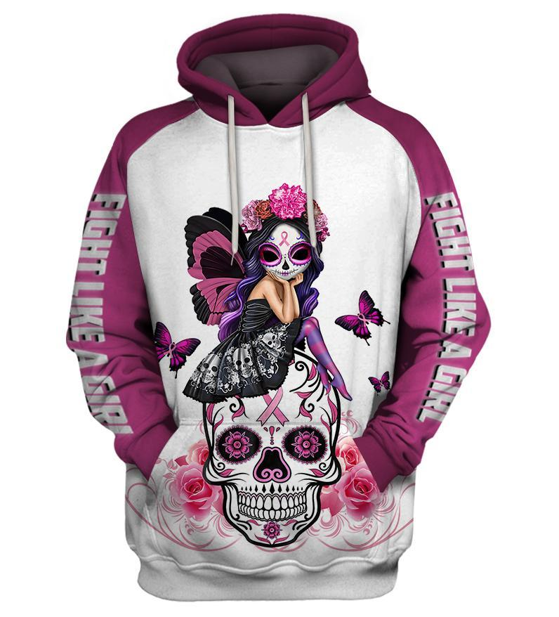 Skull Pink Warrior Fight Like a Girl Breast cancer awareness 3D All Over Printed shirt white pullover