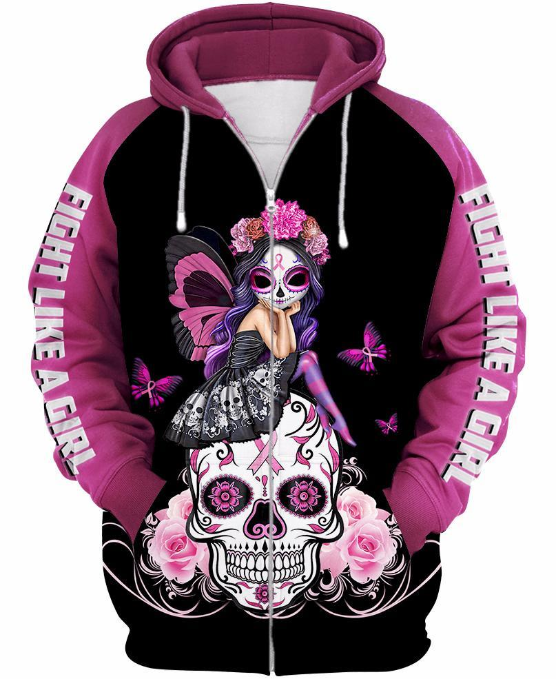 Skull Pink Warrior Fight Like a Girl Breast cancer awareness 3D All Over Printed shirt zip-up hoodie