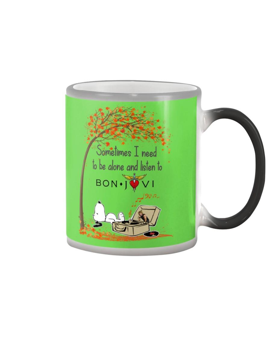 Snoopy Sometimes i need to be alone and listen to Bon Jovi shirt color changing mug