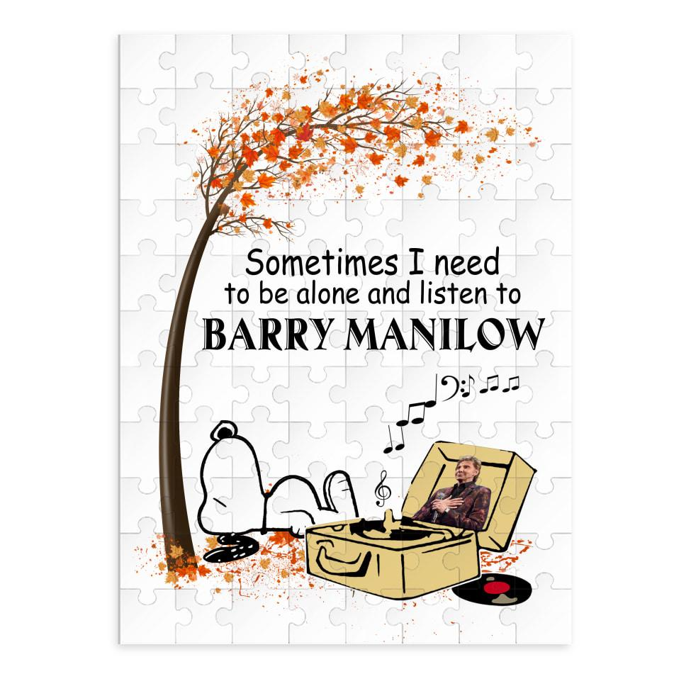 Snoopy sometimes I need to be alone and listen to Barry Manilow shirt portrait puzzle