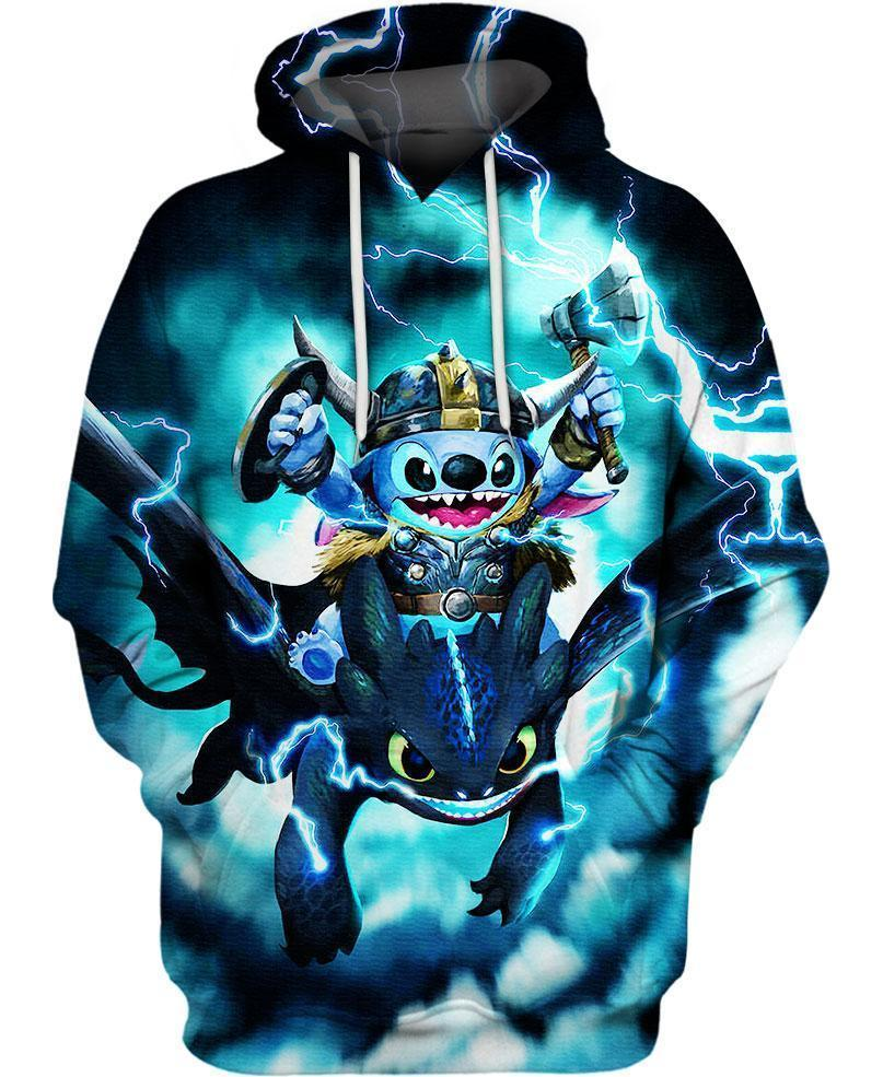 Stitch Toothless Viking Thunder 3D All Over Printed shirt hoodie