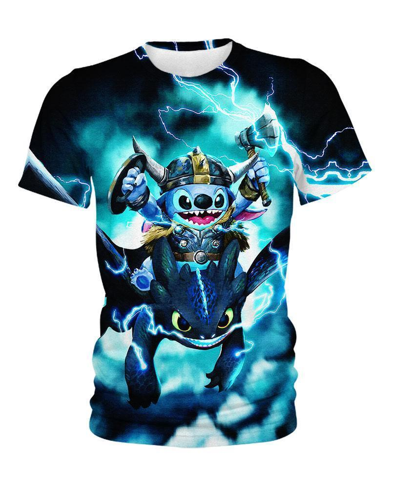 Stitch Toothless Viking Thunder 3D All Over Printed shirt kid tee