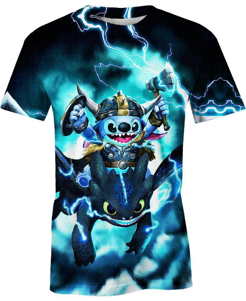 Stitch Toothless Viking Thunder 3D All Over Printed shirt t-shirt