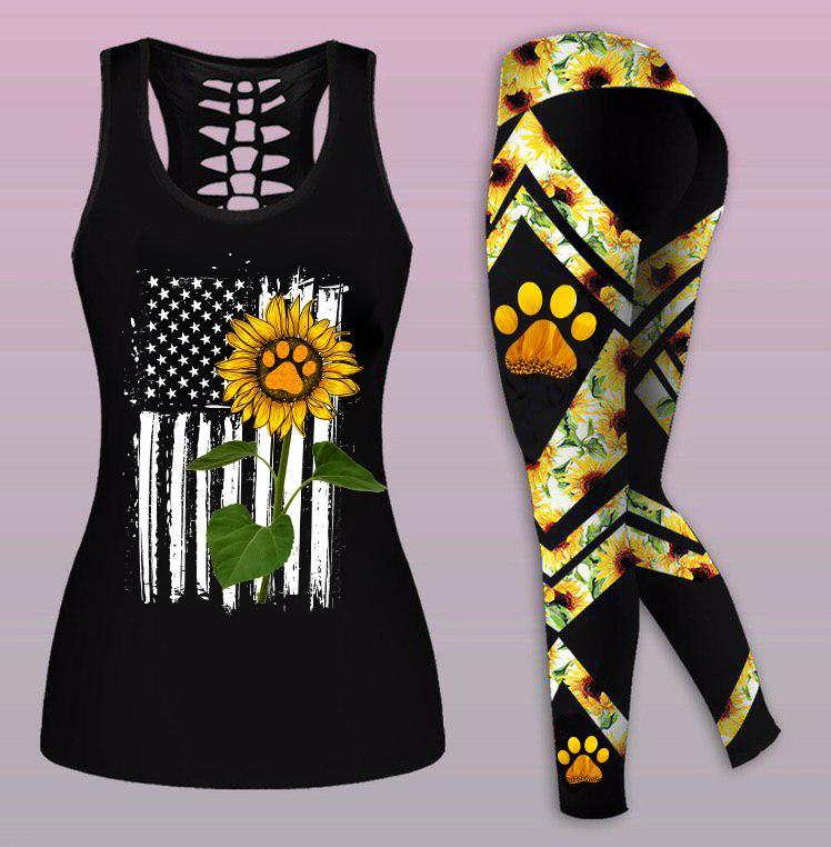 Sunflower Dog Mom tank top and legging tank top size xl + legging one size