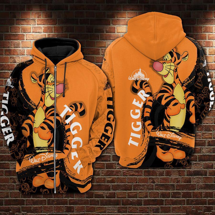Tigger Winnie The Pooh Walt Disney 3D All Over Printed shirt hoodie - tigger zip-up hoodie