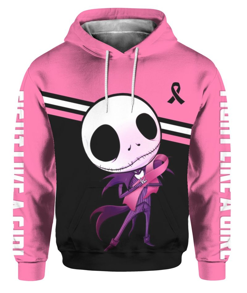 Baby Jack Skellington hug Breast Cancer Ribbon Fight like a girl 3D All Over Printed Hoodie
