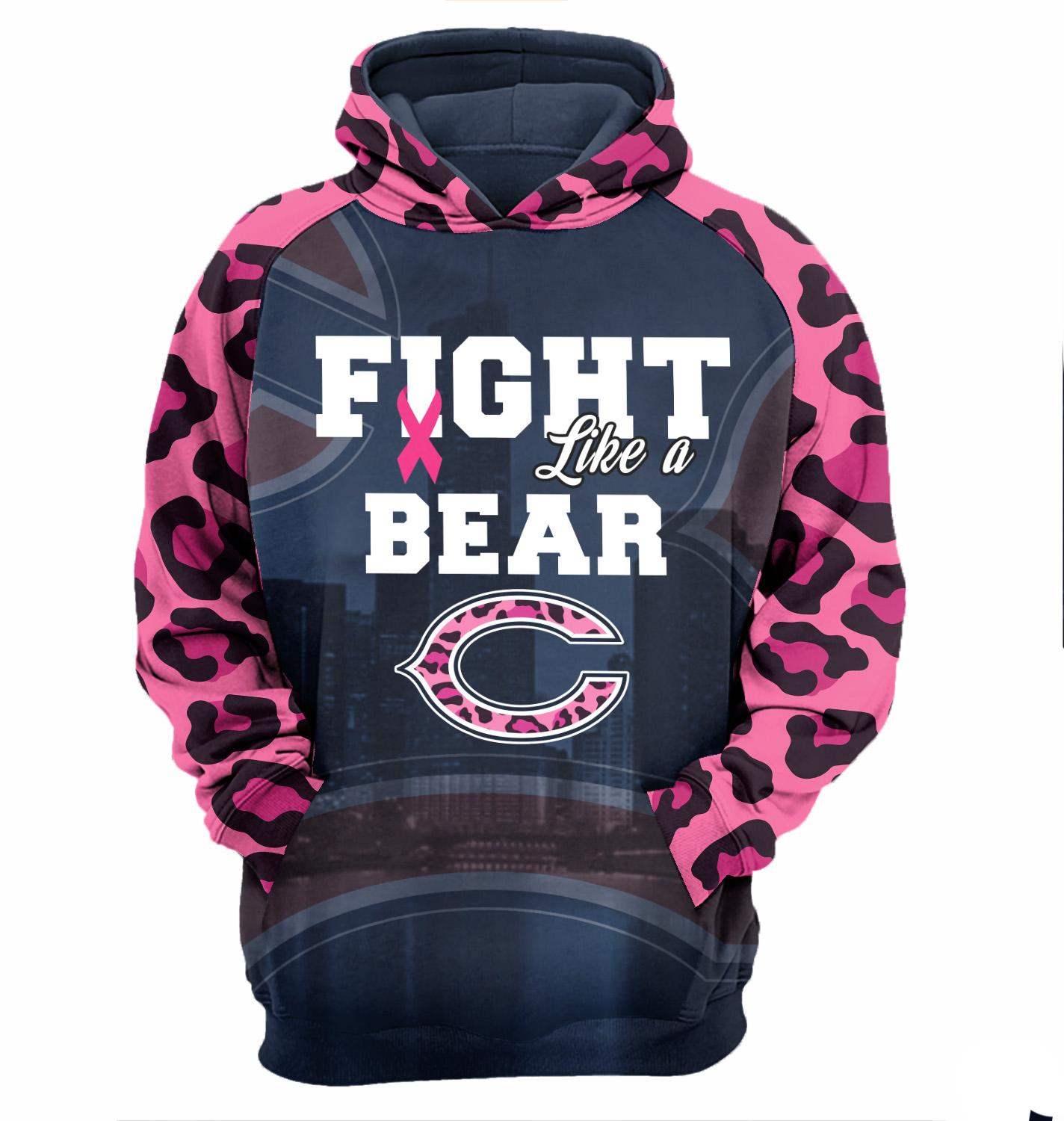 Breast Cancer Awareness fight like a Chicago Bears 3D All Over Printed Hoodie