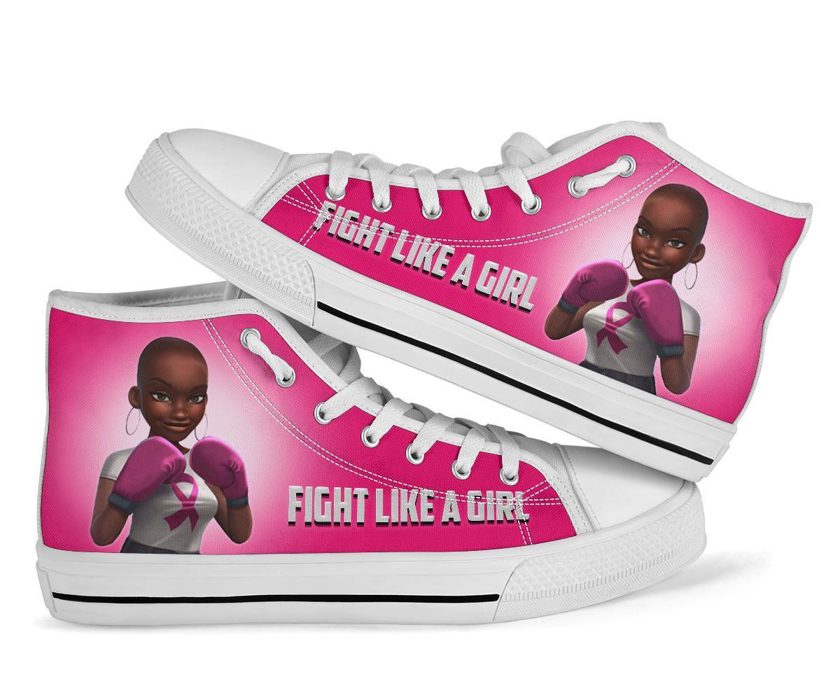 Breast Cancer Ribbon Fight like a girl shoes women's high tops - white - black high top