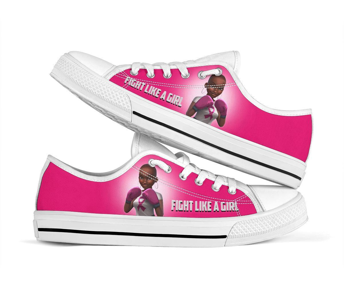 Breast Cancer Ribbon Fight like a girl shoes women's low tops - white - black low top