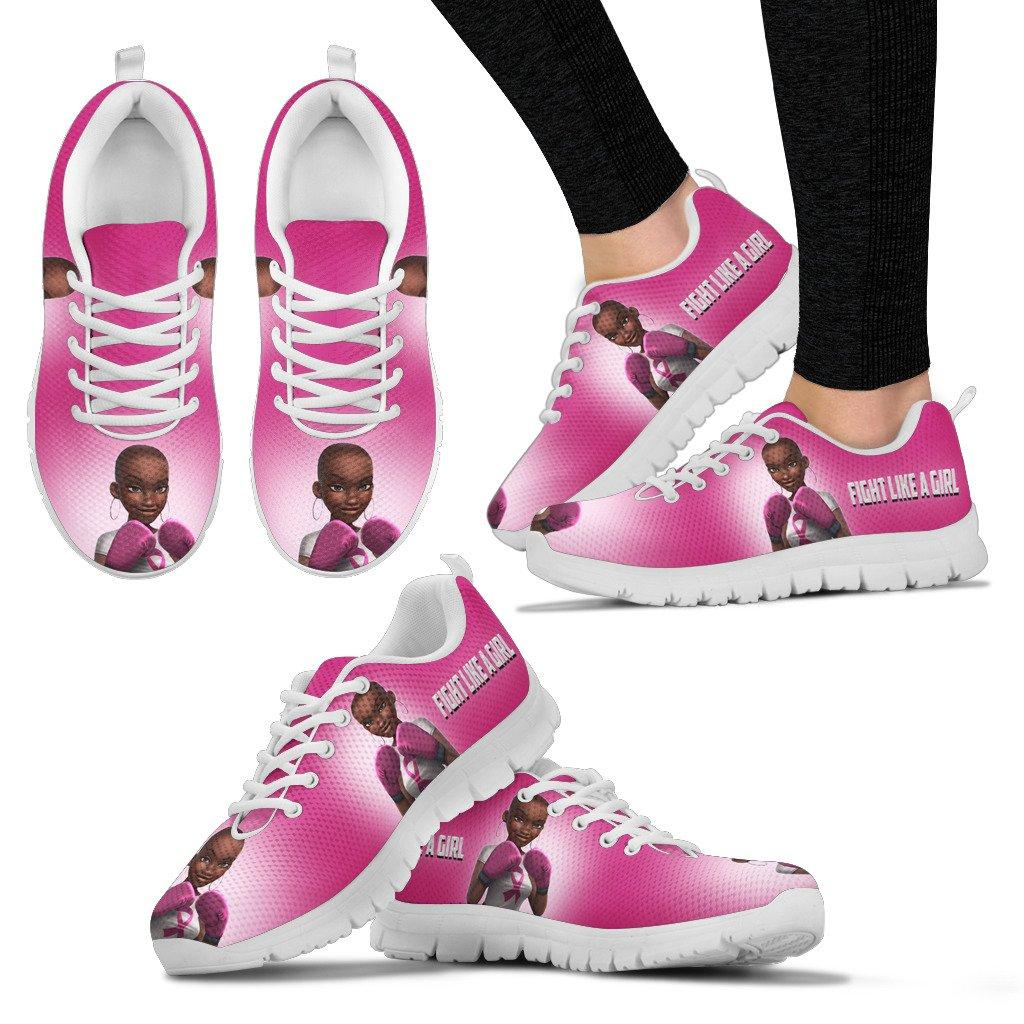 Breast Cancer Ribbon Fight like a girl shoes women's sneakers - white - black sneaker