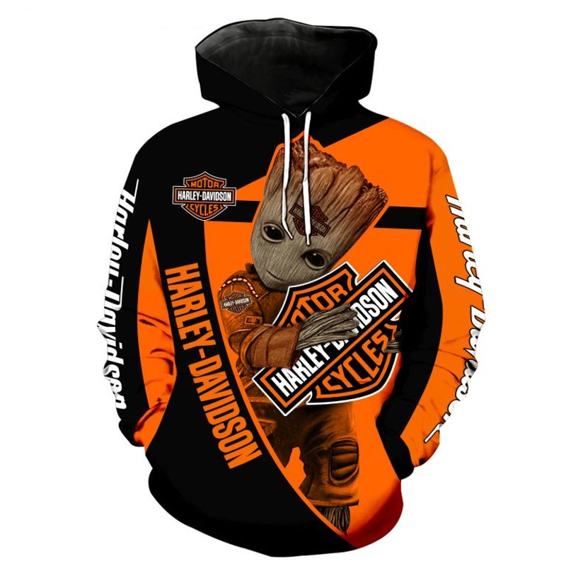 Harley Davidson With Groot 3D All Over Printed Hoodie