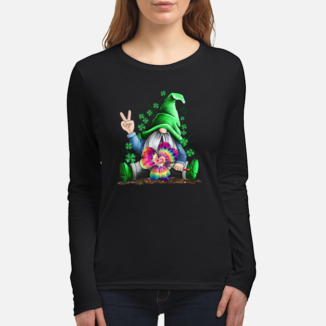Hippie Gnome Happy St Patrick's Day shirt women's long sleeved t-shirt