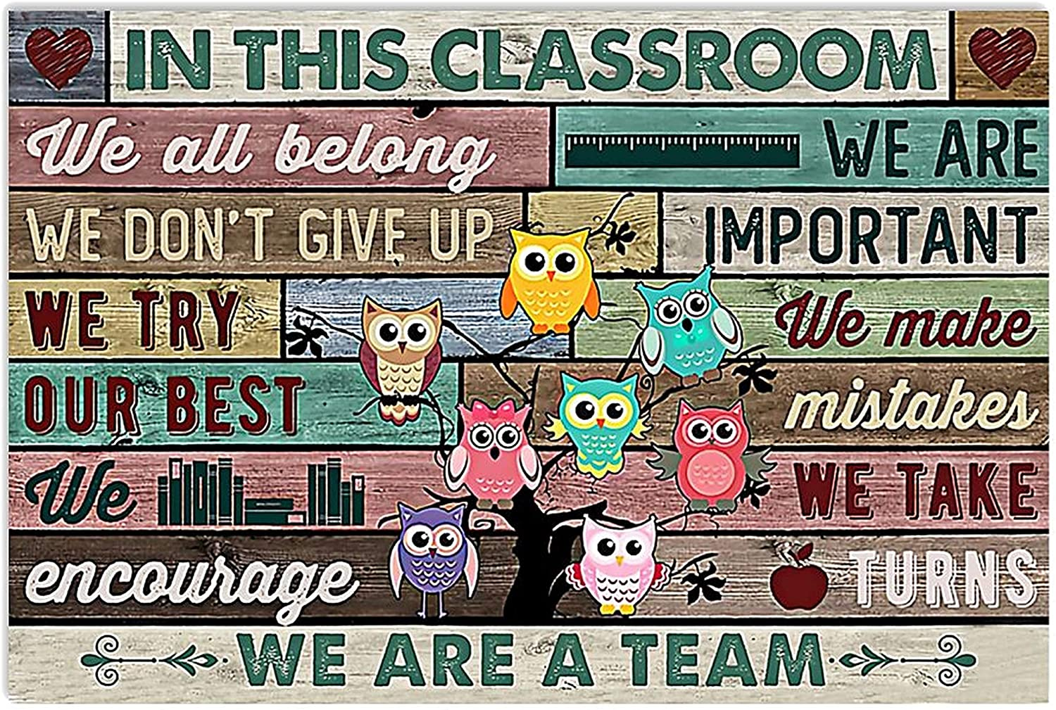 MINZY in This Classroom We All Belong We are Important We Don't Give Up Poster