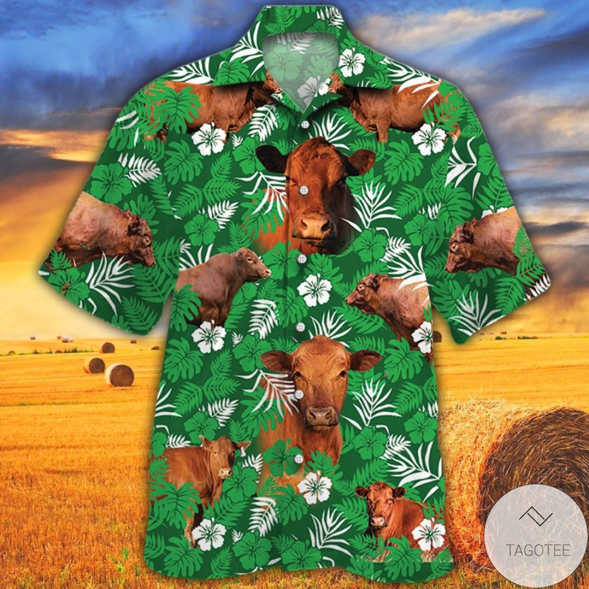 Red Angus Cattle Lovers Green Floral Pattern Hawaiian Shirt